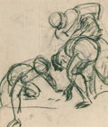 Fine Art - Work on Paper, Lorser Feitelson (American, 1898-1978). Three Figures Football, 1952. Charcoal on paper. 21-1/4 x 18-1/4 inches (54.0 x ...