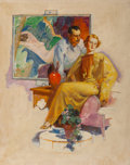 Mainstream Illustration, Philip Lyford (American, 1887-1987). Artist at His Work. Oil on board. 17 x 13.5 in.. Signed center right. Property ...