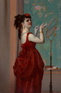 Fine Art - Painting, European, Frans Verhas (Belgian, 1825-1897). Lady in Red. Oil onpanel. 22 x 14-1/2 inches (55.9 x 36.8 cm)