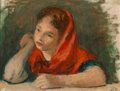 Fine Art - Painting, American, Robert Philipp (American, 1895-1981). Woman with Red Scarf.Oil on canvas laid on board. 10 x 13 inches (25.4 x 33.0 cm)...