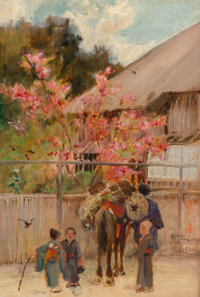 Alfred East (British, 1849-1913) Springtime, Japan Oil on panel 9-1/2 x 6-1/2 inches (24.1 x 16.5