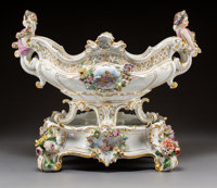 A Meissen Polychromed and Gilt Porcelain Basket on Stand with Central Cartouches After François Boucher, Modeled...