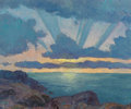 Fine Art - Painting, American, Ben Carre (American, 1883-1978). Sunset. Oil on Masonite. 12x 14-1/4 inches (30.5 x 36.2 cm). Signed lower right: Ben...