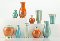 Thorkild Olsen (Danish, 1890-1973) Ten Vases, 1960s-1970s, Royal Copenhagen Glazed and gilt porcelai