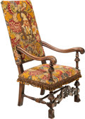 Furniture : Continental, A Carolean-Style Upholstered Walnut Armchair, 19th century. 47-1/2 x 25-3/4 x 31-1/2 inches (120.7 x 65.4 x 80.0 cm) (18-1/2...