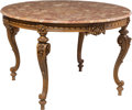 Furniture : Continental, A Baroque-Style Carved Beechwood Center Table with Marble Top, circa 1900. 30-3/4 x 47 inches (78.1 x 119.4 cm). ...