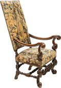 Furniture : Continental, A Carolean-Style Upholstered Walnut Armchair, 19th century. 49 x 26 x 24-1/2 inches (124.5 x 66.0 x 62.2 cm), (19-1/2 inches...