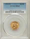 Indian Quarter Eagles: , 1914-D $2 1/2 MS63 PCGS. PCGS Population: (1317/858). NGC Census: (1486/1075). CDN: $750 Whsle. Bid for problem-free NGC/PC...