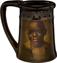 A Rookwood Standard Glaze Ceramic Portrait of African American Boy Puzzle Mug by Bruce Horsf