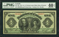 Canadian Currency, DC-18a $1 1911 PMG Extremely Fine 40 EPQ.. ...