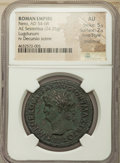 Ancients:Roman Imperial, Ancients: Nero (AD 54-68). AE sestertius (35mm, 24.35 gm, 7h). NGCAU 5/5 - 2/5, Fine Style, smoothing....
