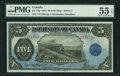 Canadian Currency, DC-21g $5 1.5.1912 PMG About Uncirculated 55 EPQ.. ...