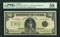 Canadian Currency, DC-26j $2 1923 PMG Choice About Unc 58.. ...