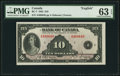 Canadian Currency, BC-7 $10 1935 PMG Choice Uncirculated 63 EPQ.. ...