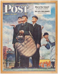 Baseball Collectibles:Photos, 1949 Saturday Evening Post Advertising Poster (NormanRockwell Cover Art) - Tough Call....