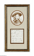 Autographs:Military Figures, George Armstrong Custer Handwritten and Signed Note...