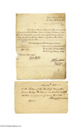 Autographs:Statesmen, Two Henry Dearborn Signed Financial Documents as Secretary ofWar...