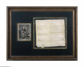 Autographs:Statesmen, Patrick Henry Framed 1786 Document Signed with Portrait...
