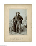 Autographs:Celebrities, Geronimo- Incredible Signed Sepia Cabinet Card Photo...