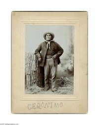 """Geronimo- Incredible Signed Sepia Cabinet Card Photo Sepia 6"""" x 8"""" cabinet card, undated, depicts the Apache l..."""