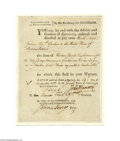 Autographs:Statesmen, John Hancock and Nathaniel Gorham Signed Document, 1782...