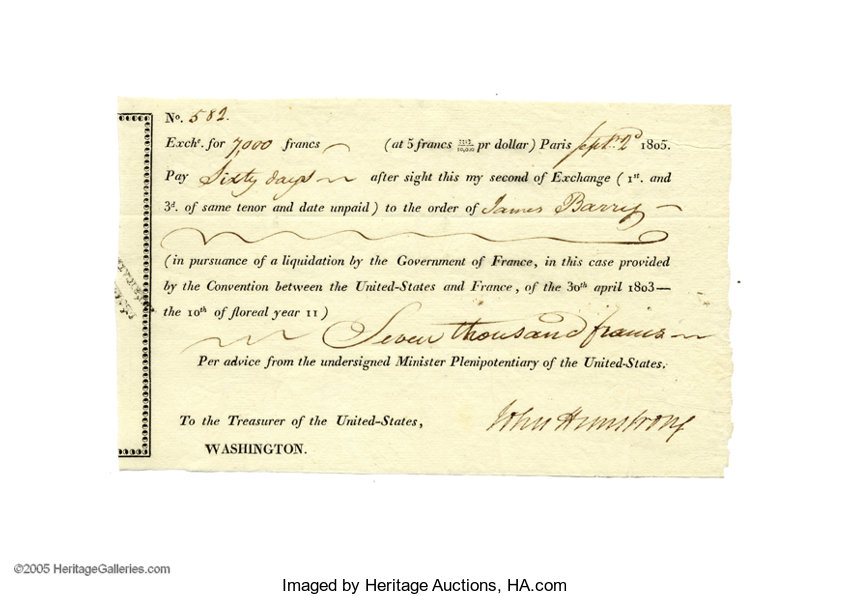 937f088b22 Louisiana Purchase  John Armstrong Document Signed... Autographs ...