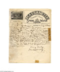"Autographs:Military Figures, ""Gray Ghost"" John S. Mosby Handwritten Signed Letter..."
