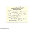 Autographs:Statesmen, Supreme Court Justice Stanley Reed 1969 Autograph Note Signed...