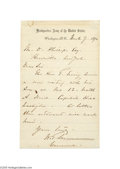 Autographs:Military Figures, General William T. Sherman 1870 Signed Letter...