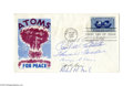 Autographs:Military Figures, Enola Gay Crew First Day Cover Signed...