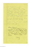 "Autographs:Celebrities, Howard Hughes Writes About ""Adm. John Towers - first Naval aviator...the one who took me out on the carrier.""..."