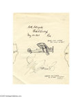 "Autographs:Celebrities, Delightful Charles Lindbergh Signed ""Spirit of St. Louis"" Sketch..."