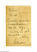 Autographs:Celebrities, Thomas A. Edison Autograph Note ...
