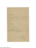 Autographs:Celebrities, Thomas Edison Signed Note to His Assistant Charles L. Clarke...