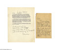 Autographs:Statesmen, An Outstanding Pair of Thomas Edison Signed Letters About thePhonograph...
