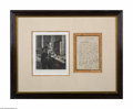 Autographs:Non-American, French Scientist Louis Pasteur Framed Signed Letter and Portrait...