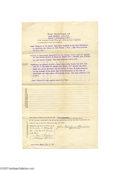 "Autographs:Military Figures, ""Tommy Gun"" Inventor John T. Thompson Signed Document..."
