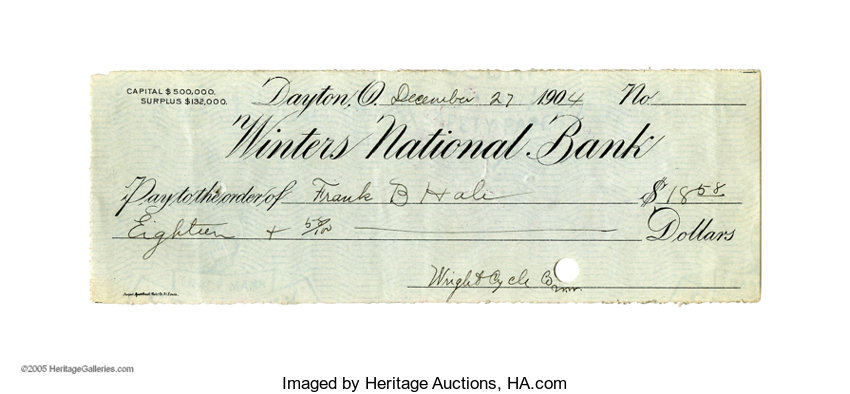 Wilbur Wright 1904 Partly Printed Check Filled Out And Signed - Check-filled-out