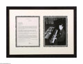 Autographs:Celebrities, Framed Irving Berlin Letter to George M. Cohan with Photo...