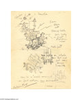 Autographs:Celebrities, Toonerville Trolley Creator Fontaine Fox Signed Sketch... (3 items)