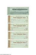Autographs:Celebrities, Group Lot of Five Checks by Illustrator Thomas Nast...