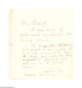 Autographs:Military Figures, Lew Wallace Note to his Editor...