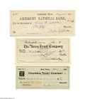 Autographs:Celebrities, Noted American Literary Figures Including Whittier and Riley, ThreeSigned Checks...