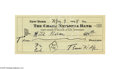 Autographs:Celebrities, Thomas Wolfe Signed Check...