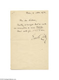 Autographs:Non-American, Naturalism Founder Emile Zola 1878 Signed Letter...