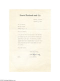 Autographs:Celebrities, Extraordinary Rare Business Leader Alvah C. Roebuck 1940 Typed Letter Signed on Sears, Roebuck & Company Letterhead...