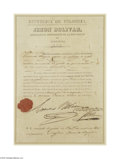 Autographs:Non-American, Simon Bolivar Singed Military Document as President of Colombia...