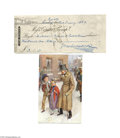 Autographs:Non-American, Charles Dickens Signed Check, 1859...