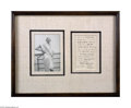 Autographs:Non-American, Mahatma Gandhi Framed Signed Letter 1938 and Photo...