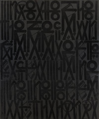 RETNA (American, b. 1979) Conversation Piece, 2012 Acrylic, enamel, and crystalline on canvas 96